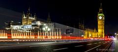 Big Ben (Tony Hugo) Tags: uk london bigben clock tower unitedkingdom gb longexposure england lighttrails road traffic