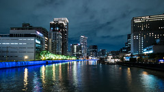 River City - Blue Bank (H.H. Mahal Alysheba) Tags: osaka city night urban landscape water river japan wide lumix gx7 lumixg 714mmf40