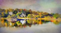 Harbor House (floralgal) Tags: ryenewyorklandscape newyorklandscape westchestercountynewyork autumninryenewyork painterlyautumnlandscape fallcolors autumnonkirbypond autumnlandscape ryenewyork kirbypondinautumn