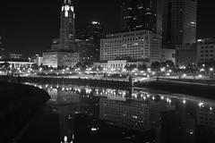stoale_s3 (samanthatoalephotography) Tags: night black white blackandwhite bw downtown downtowncolumbus ohio columbusohio light dark darkness city water reflection