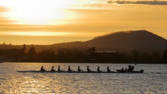 Rowers and Coach (blachswan) Tags: ballarat victoria australia lakewendouree lake rowers coach rowingboat rowing rower sunrise mountwarrenheip boat clouds sun