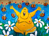 The Laughing Buddha (Steve Taylor (Photography)) Tags: laughing buddha cnd bee art cartoon graffiti mural streetart blue yellow white brown green fun happy man newzealand nz southisland canterbury christchurch cbd city plant flower daisy