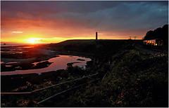 Passing the Rock Pools (Welsh Gold) Tags: arriva trains wales class 150 sprinter 2a52 bridgend aberdare service fontygray coast line rock pools sunset valeofglamorgan southwales