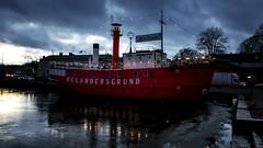 Twilight (tkaiponen) Tags: helsinki december rx100m3 boat lighthouse outdoor water sea ice lastlight night clouds dark