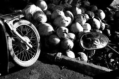 coconuts and the mirror (hydRometra) Tags: mekong market coconuts asia mirror vietnam mercato cocco motocicletta indocina travel motorcycle bn 35mm specchio indochina delta cairang bw viaggio