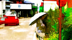 Waiting for the bus (Bamboo Barnes - Artist.Com) Tags: vivid green red yellow white black car woman umbrella town street busstop pole japan photo painting digitalart bamboobarnes