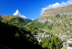 The Matterhorn from Zermatt, Switzerland (` Toshio ') Tags: toshio zermatt switzerland swiss matterhorn swissalps valley nature mountain fuji xe2 village town