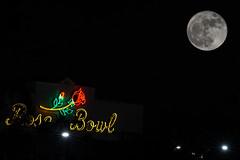 Rose Bowl Signage and the Super Moon (Susan Colosimo) Tags: supermoon fullmoon rosebowl rosebowlsignage neonsign multipleexposures nightphotography pasadena maninthemoon