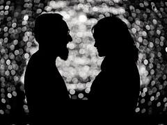Light metering gone wrong :) (Wojtek Piatek) Tags: silhouette couple engagement wedding bokeh christmas lights sony alpha 85mm 14 zeiss a99 love dublin ireland kiss 2016 heart