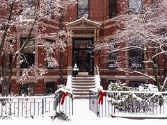 Marlborough Street in Winter ((Jessica)) Tags: boston massachusetts unitedstates us snow buildings snowstorm fallingsnow weather cold winter newengland door