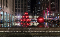 1251 Ave of the Americas (20161202-DSC06428) (Michael.Lee.Pics.NYC) Tags: newyork 1251avenueoftheamericas radiocity holiday christmas 2016 rockefellercenter night ornaments reflection sony a7rm2 voigtlanderheliar15mmf45