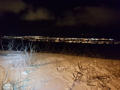 A cold, but calm evening (GeirB,) Tags: varanger vadsø vadsoe lysløype arctic 70north 45nrth barentsregionen uteliv friskifinnmark light december darktime polartime landscape town finnmark fatbike norway norge