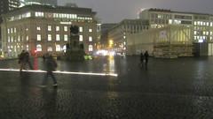 It's not funny (Robert Saucier) Tags: francfort frankfurt pluie rain building architecture trottoir sidewalk pavement nuit night nightshot noflash flou blur img0943