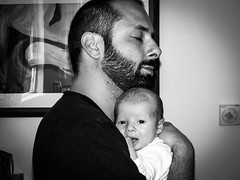 This is love (Mr_Carnevali) Tags: family bw white black love daddy infant dad father son e future bianco nero chid