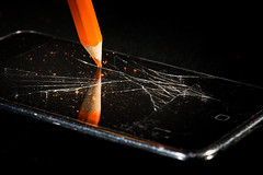 Conflict 3 (Flavio~) Tags: orange reflection guy glass pencil photography break flash x conflict iphone 2014 ipad shutterd