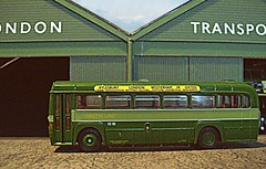 RF at Chelsham (kingsway john) Tags: london transport green line rf modernised coach model 176 scale chelsham bus garage kingsway models card kit londontransportmodel diorama oo gauge miniature