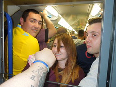 Palace supporters on the Tube (Paul-M-Wright) Tags: uk england london train underground football crystal stadium soccer tube august palace emirates v match 16 fans fc premier arsenal league supporters afc 2014 cpfc