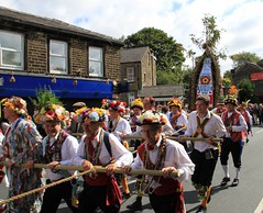 Parading through Greenfield (jpotto) Tags: uk yorkshire traditions greenfield saddleworth morrismen rushcart