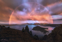 Spellbound (Mark Metternich) Tags: park old pink blue sunset lake man oregon island volcano rainbow ship wizard mark mount national crater caldera cascades carter lightening phantom volcanic mazama klamath the metternich wildforlightcom