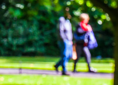 Happy blurry bokeh Wednesday (Steve-h) Tags: park blue ireland red summer dublin man macro feet girl grass lady scarf canon lens blurry women couple europa europe arms legs boots bokeh path candid femme eu august 100mm jeans thighs blonde bags coats bushes railings gent manualfocus ef bodies allrightsreserved calves ststephensgreen 2014 ladyinred f28l steveh canoneos5dmkii canoneos5dmk2 blurrystract canonef100mmf28lmacroisusm