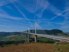 Crossing valley (Marcodeco) Tags: bridge blue sky panorama cloud france green architecture landscape photo view image picture meadow olympus vert viaduct bleu ciel pasture valley land lea pont prairie nuage paysage viewpoint vue zuiko champ millau viaduc aveyron valle pr midipyrnes 14mm pturage e520 amorusomarc marcodeco