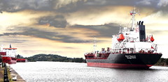 Trading Places (Idreamofpies) Tags: uk sea england water clouds port canon manchester photography town canal george ship cheshire smoke oil tanker funnel kestrel chemical stolt ellesmere idreamofpiesphotography 319252000 idreamofpiesphotography