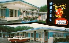 The Sandman Motel, St. Petersburg, Florida (SwellMap) Tags: architecture vintage advertising design pc 60s fifties postcard suburbia style motel kitsch retro lodge nostalgia chrome americana motor 50s roadside googie populuxe sixties babyboomer consumer coldwar midcentury spaceage atomicage