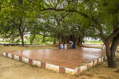 Village Court place (Freeze the moments!) Tags: old trees people mountain green nature statue temple madurai pillayar samanarmalai nagamalai vasanthjune keelakuyilkudi