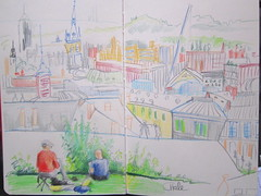 Urban Sketchers with a view of Lige (CatherineHale) Tags: belgium lige