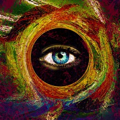 James Bond (Baky) Tags: orange color colour eye art texture japan asian weird eyes colorful paint pattern arty artistic vibrant space alien jesus fake surreal kitsch pop swirl psychedelic wacky cartoonish iphone barky   aplusphoto wowiekazowie iphoneography baky barkyvision