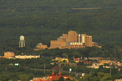 the old view - Wilkes-Barre Veteran's Hospital (Hank Rogers) Tags: old trees sunset mountains tower water vintage hospital view zoom pennsylvania watertower pa valley watertank wilkesbarre veteranshospital oldwatertower vahospital wyomingvalley