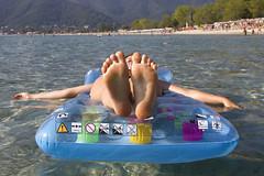 2014-08-22 Bethan's feet, Golden Beach, Thassos (Pondspider) Tags: aegean greece lilo bethan goldenbeach thassos aegeansea anneroberts annecattrell pondspider