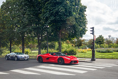 Arab combo. (Nino - www.thelittlespotters.fr) Tags: blue red summer white paris france cars french flag rich ferrari arab bugatti luxury rare supercar combo veyron orblanc laferrari