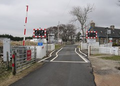 Forsinard Level Crossing (Inverness Trucker) Tags: railroad station crossing railway line level automatic sutherland farnorth railroadcrossing levelcrossing wigwag wigwags farnorthline halfbarrier automatichalfbarrier aoclb