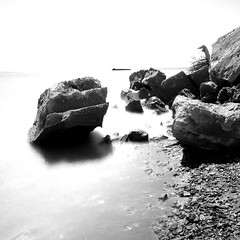 Eerie Rocks (.enKay) Tags: longexposure blackandwhite bw white toronto ontario canada black contrast canon photography dslr filters blackandwhitephotography scarboroughbluffs 10stop canon60d neutraldensityfilters tokina1116 110nd