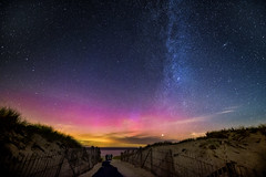 The Solar Storm Gives Way to the Rising Moon (Frank C. Grace (Trig Photography)) Tags: sky beach night stars ma sand nikon gate unitedstates path provincetown massachusetts newengland galaxy northernlights auroraborealis milkyway racepoint trigphotography frankcgrace