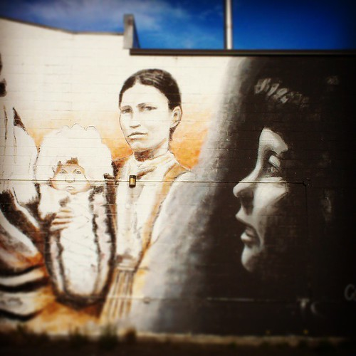 Detail of  Colin Alexander's mural on the Dana Naye Ventures building #yxy #Yukon #art