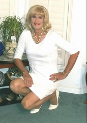 White Dress (bobbievnc) Tags: tgirl crossdresser blonde blondehair longhair dress shortdress tightdress pantyhose pantyhoselegs tanpantyhose heels highheels pumps