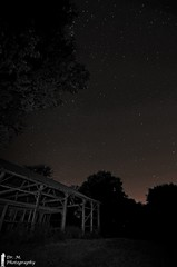 Stary Night over Old Barn (Dr. M.) Tags: stars astrophotography night trees nikon d7000 cold crisp manual longexposure blackwhite oldbarn decayed decrepit structure beams