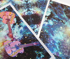 SKY GUITAR MIDNIGHT on Satin (paysmage) Tags: paysmage spoonflower fabric fashion apparel colorful collection satin sewing stiching seamless sky universe galaxy fabrics coordinates music sound design designers designer decoration upholstery assorted blue midnight