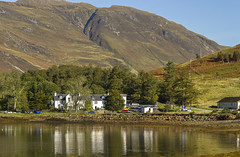 Kintail Lodge Hotel (Kev Gregory (General)) Tags: looking across still waters loch duich village tighgeal reflected beautiful morning light scottish highlands kev gregory canon 7d scotland holiday kintail lodge hotel