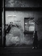 Happy Again (Al Fed) Tags: banksy graffiti wall krakov poland night corner people streetphotography happy again soldier singing rain women reality