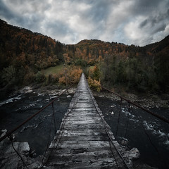 On the other side (emil.rashkovski) Tags: bridge rope old abandoned autumn sky clouds nature bulgaria rhodopes