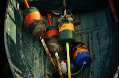 skiff and buoys (jtr27) Tags: dsc04632 jtr27 sony alpha alpha7 a7 ilce7 ilce csc mirrorless canon fd fdn nfd 50mm f14 manualfocus freeport skiff rowboat maine newengland lobster buoy
