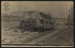 Real Photo Postcard: Riverboat Milton at Wheeling Wharf (Ohio County Public Library) Tags: wheelingwv wheeling wharf wheelingwharf milton steamboat steelbridge miltonofpittsburgh riverboats steamboats rppcs rppc