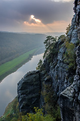 *hole in the clouds* (miyagimovies) Tags: lila outdoor landscape nature sunset sun clouds canon sigma saxonswitzerland schsischeschweiz elbsandsteingebirge rocks river elbe sunny dresden view wanderlust hiking hike travel mountain mountains high above saxony germany europe cliff rock