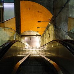 (Svein Nordrum) Tags: abstract square squareformat lines colour colors orange perspective composition bybilder oslo by escalator underground 21mm distagon wide