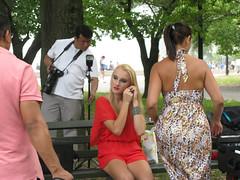 Model Adjusting Earring, Photoshoot, Flushing Meadows, 2015 (Lee Yee Photography) Tags: fashion vogue elle feminine sundress flirty romance prada schiaparelli valentino culotte dior ralphlauren betseyjohnson sexandthecity sexygirl marieclaire urbanstyle reddress