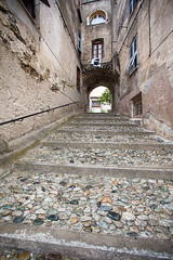 Stone (Katka S.) Tags: corsica corse france island stone path pavement street corte framed house houses gate old building historical medieval architecture