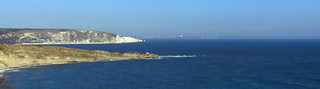 Peveril Point, Ballard Down, Handfast Point & Bournemouth across Poole Bay